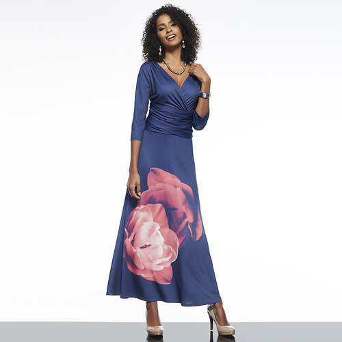 Surplice Gathered Waist Dress