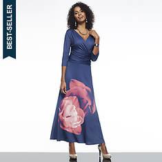 Surplice Gathered Waist Dress