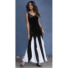 Velvet Maxi Dress With Chiffon