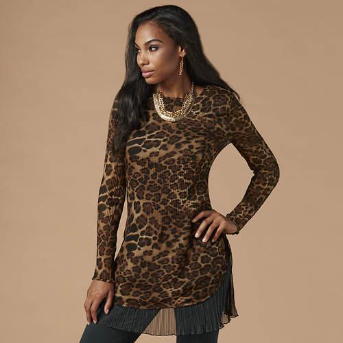 Leopard Print Pleated Tunic