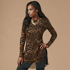 Leopard Print Pleated Tunic
