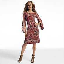 Flyaway Sleeve Dress With Necklace