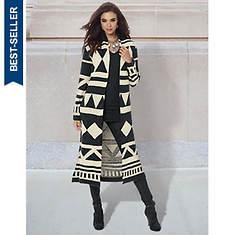 Black Geo Print Sweater Coat