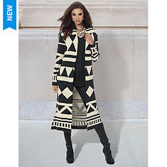 Black Geo Print Sweater Coat