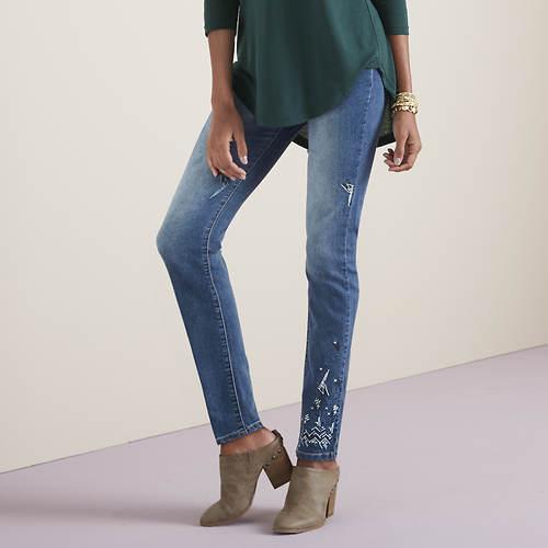 High-Waist Embroidered Jean