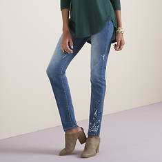 High-Waist Embroidered Jean