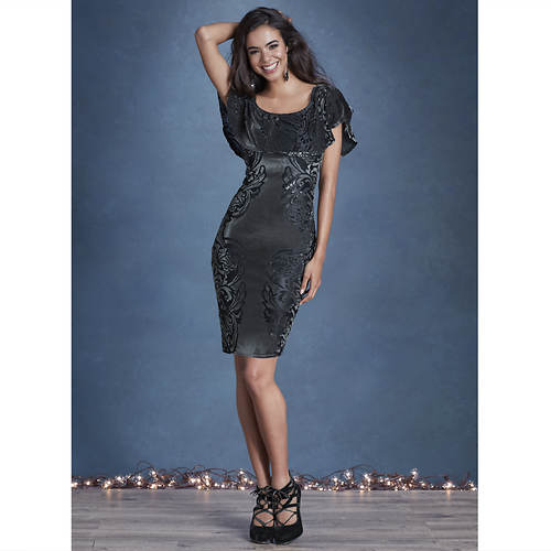Velvet Burnout Flounce Dress