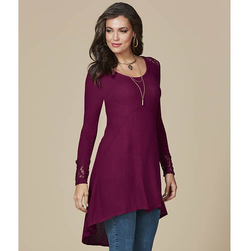 Women's Lace-Trimmed High-Low Tunic Top