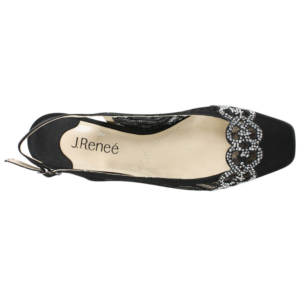 J. Renee Faleece Lace and Satin Slingback Block Heel Pumps JG1ITW