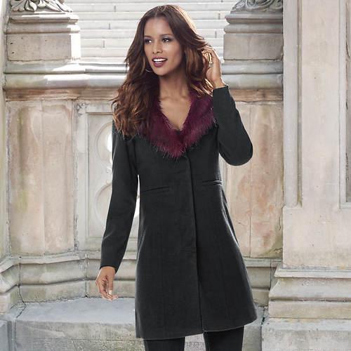 Contrast Faux Fur Collar Jacket
