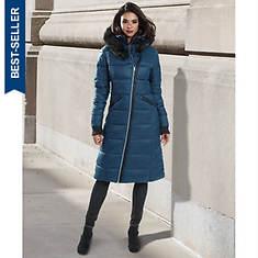 Double Collar Long Puffer Coat