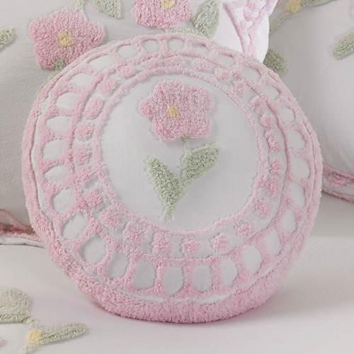 Floral Garden Chenille Round Pillow Figis Gallery