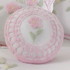 Floral Garden Chenille Round Pillow