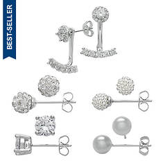 5-Pair Silver-Plated Earring Set