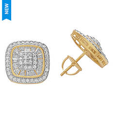 Curved Sqare CZ Earrings