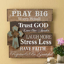Wood Wall Sign with Cross