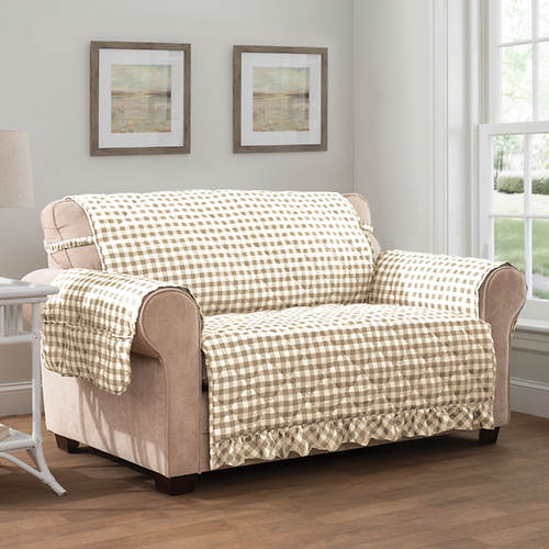 Gingham Ruffle Furniture Protector-Loveseat
