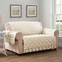 Gingham Ruffle Furniture Protector-Loveseat-Linen