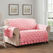 Gingham Ruffle Furniture Protector-Loveseat-Red