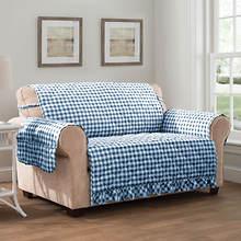Gingham Ruffle Furniture Protector-Loveseat-Navy
