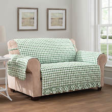 Gingham Ruffle Furniture Protector-Loveseat-Green