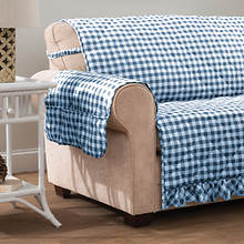 Gingham Ruffle Furniture Protector-Recliner-Navy