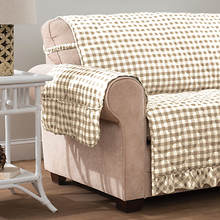 Gingham Ruffle Furniture Protector-Recliner-Linen
