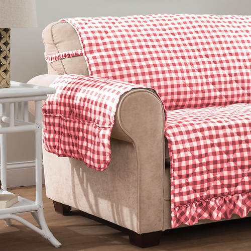 Gingham Ruffle Furniture Protector-Recliner