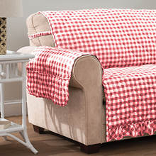 Gingham Ruffle Furniture Protector-Recliner-Red