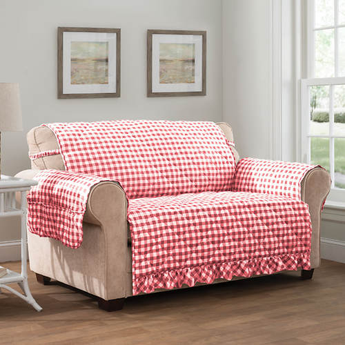 Gingham Ruffle Furniture Protector-Sofa