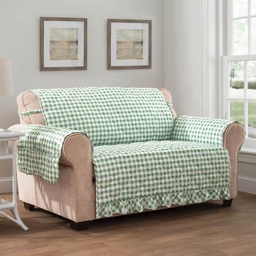 Gingham Ruffle Furniture Protector-Sofa