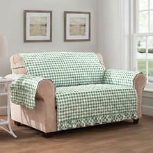 Gingham Ruffle Furniture Protector-Sofa-Green