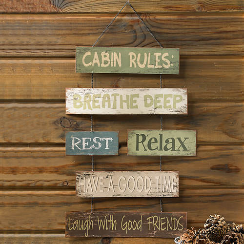 Tin Cabin Rules Wall Sign