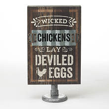 Wood Farm Table Signs-Wicked Chicken