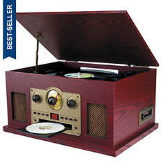 Sylvania Nostalgia 5-in-1 Turntable/CD/Radio/Cassette Player with Auxiliary Input