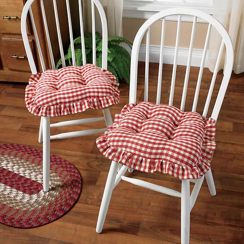Gripper Gingham Ruffle Chair Pad