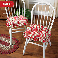 Gripper Gingham Ruffle Chair Pad
