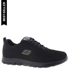 Details about Womens Skechers 77222 SQUAD SR Non Skid Slip On Resistant Work Shoes Black