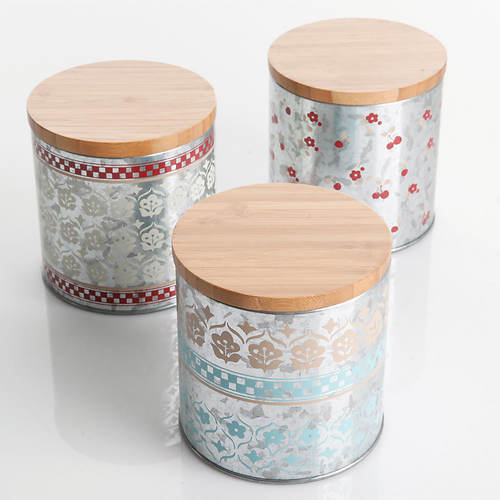 General Store Hollydale Tin/Bamboo Canisters-Set of 3