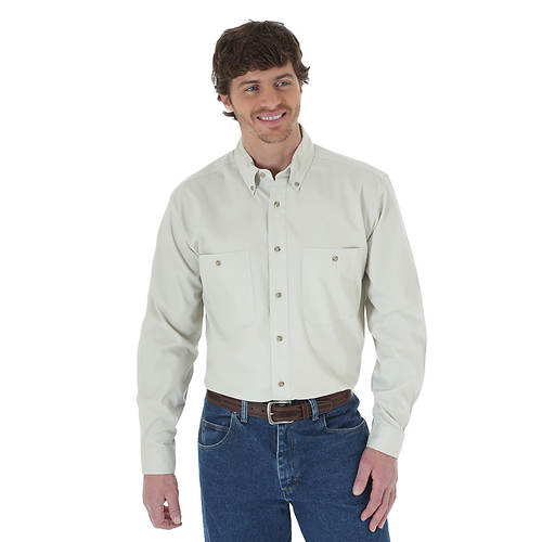 Wrangler Men's LS Wrinkle Resist Solid Shirt