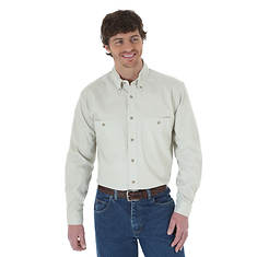 Wrangler Men's LS Wrinkle Resist Solid Shirt
