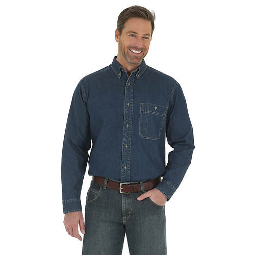 Wrangler Men's Rugged Wear Denim Long-Sleeve Basic Shirt