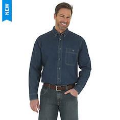 Wrangler Men's Rugged Wear Denim Long-Sleeve Basic Shirt