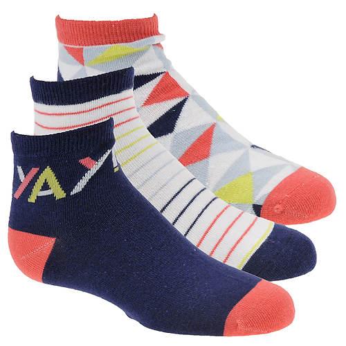 Stride Rite Girls' 3-Pack Gabby Geo Quarter Socks