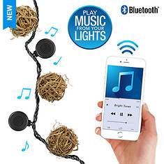Bright Tunes LED Wicker String Lights with Bluetooth Speakers