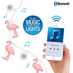 Bright Tunes LED Flamingo String Lights with Bluetooth Speakers