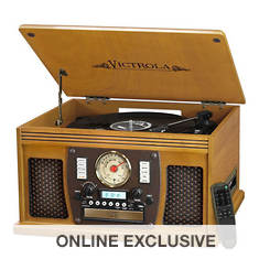 Victrola Wood 8-in-1 Bluetooth Record Player