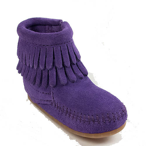 Minnetonka Double Fringe Side Zip Boot (Girls' Infant-Toddler-Youth)