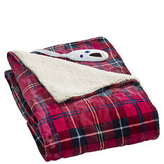 Biddeford Heated Velour/Sherpa Throw