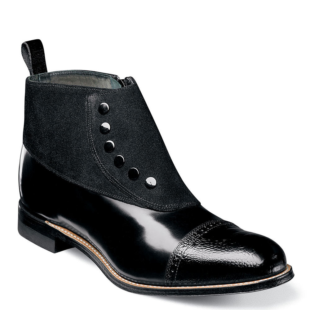 Men's Steampunk Clothing, Costumes, Fashion Stacy Adams Madison Spat Mens Black Boot 14 D $139.95 AT vintagedancer.com